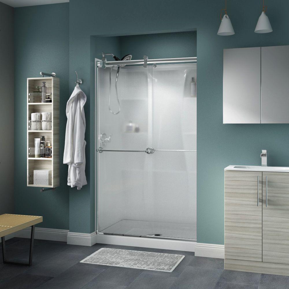 Delta Silverton 48 in. x 71 in. Semi-Frameless Contemporary Sliding Shower Door & Delta Silverton 48 in. x 71 in. Semi-Frameless Contemporary ...
