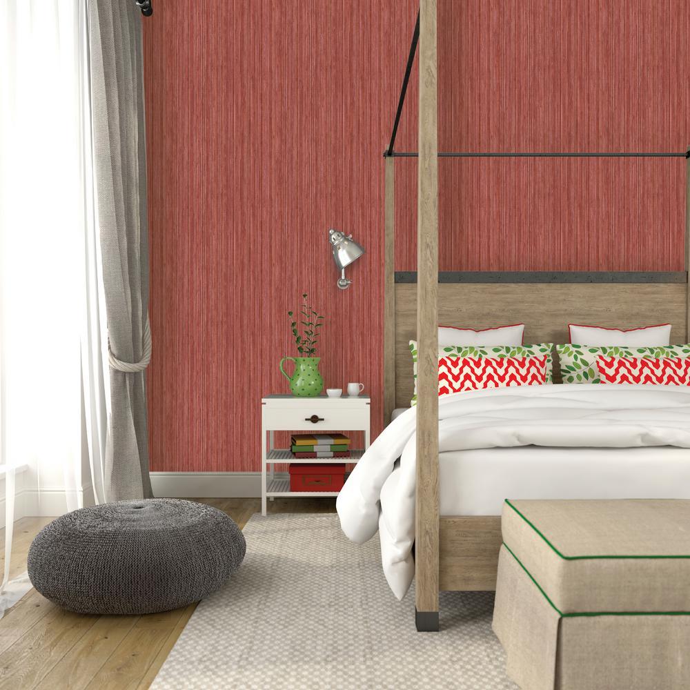 Crimson Grasscloth Wallpaper