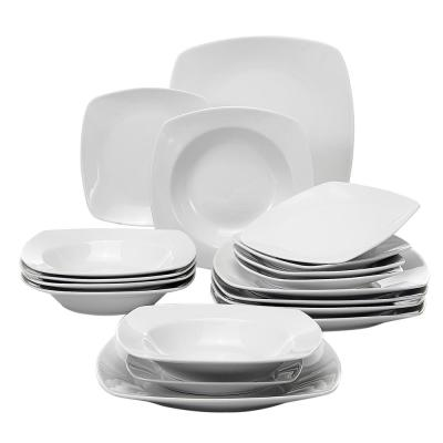 JULIA 18-Piece White Porcelain Dinner Plates Dishes Dinnerware Set (Service for 6)