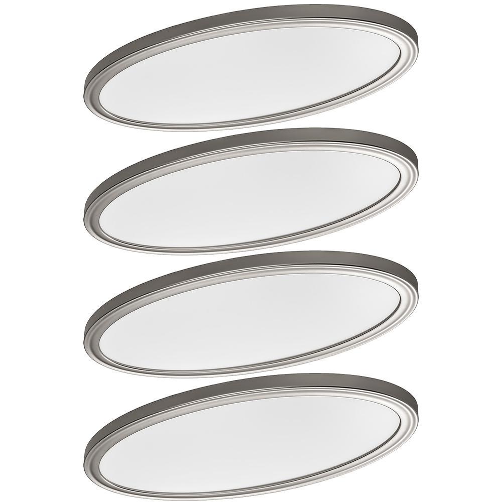 Low Profile 32 in. Oval Brushed Nickel LED Flush Mount Ceiling Light 3000 Lumens 3000K 4000K 5000K Dimmable (4-Pack)