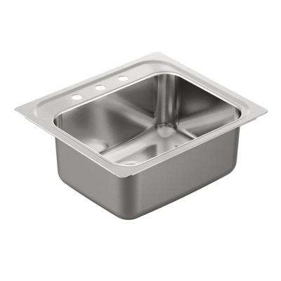 1800 Series Drop-In Stainless Steel 25 in. 3-Hole Single Basin Kitchen Sink Featuring QuickMount Hardware