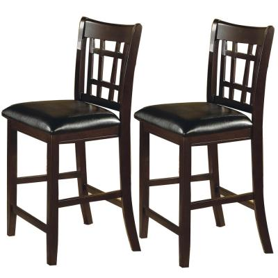Lattice Back 24 in. Wooden Counter Height Chair with Leatherette Seat (Set of 2)