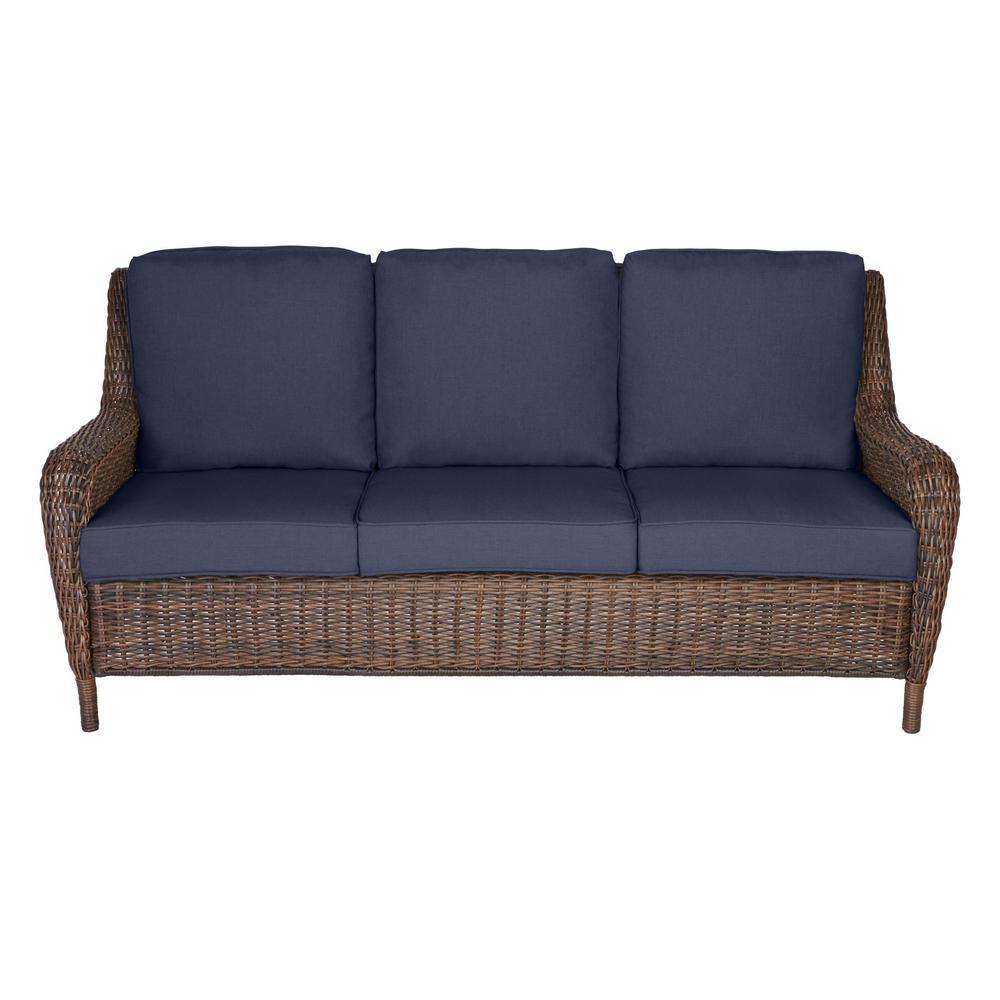 Brown Wicker Outdoor Patio Sofa