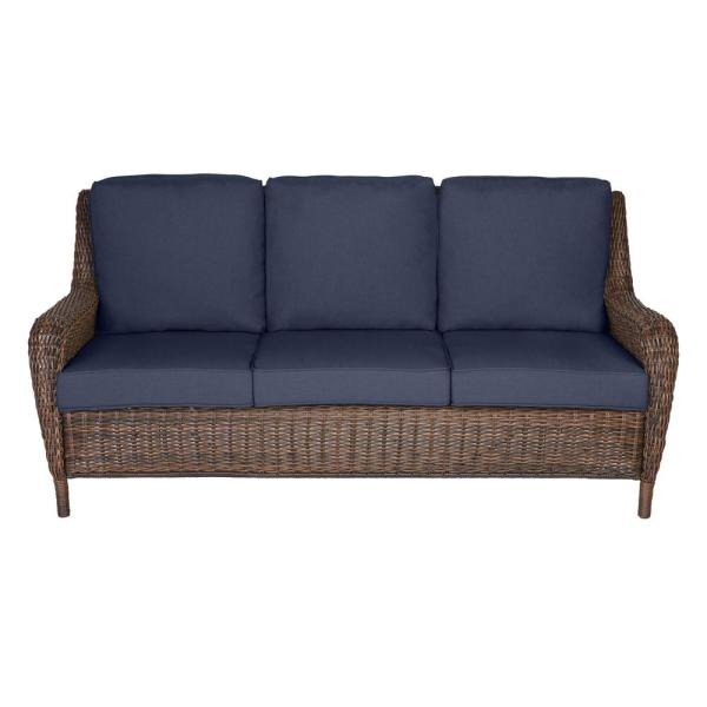 Hampton Bay Cambridge Brown Wicker Outdoor Patio Sofa with Standard Midnight Navy Blue Cushions