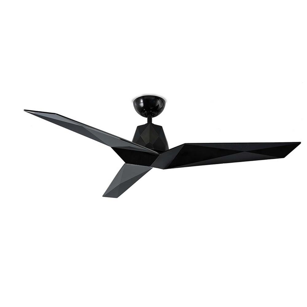 Modern Forms Vortex 60 in. Indoor/Outdoor Gloss Black 3-Blade Smart Ceiling Fan with Wall Control