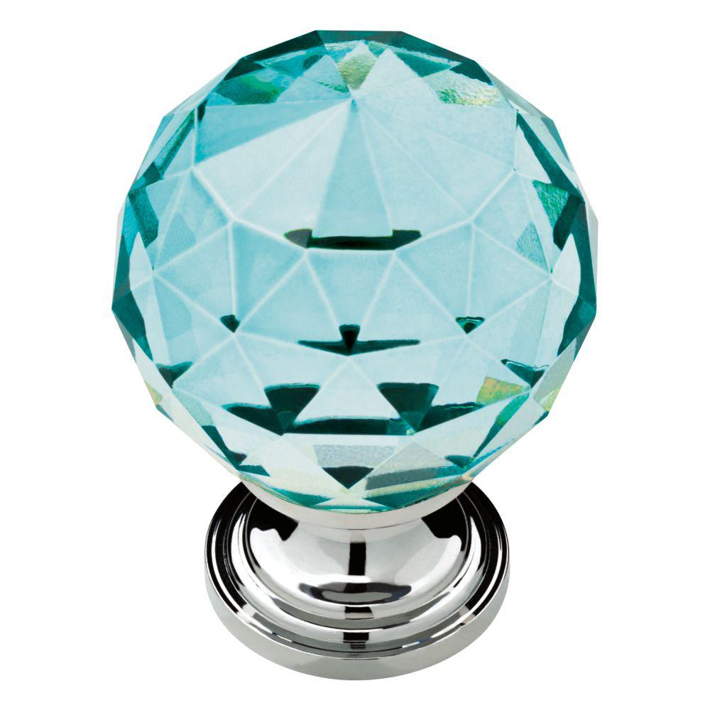 Liberty Faceted Crystal 1-3/16 in. (30 mm) Chrome with Cerulean ...