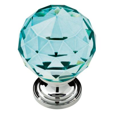 1-3/16 in. (30mm) Chrome and Cerulean Faceted Glass Cabinet Knob