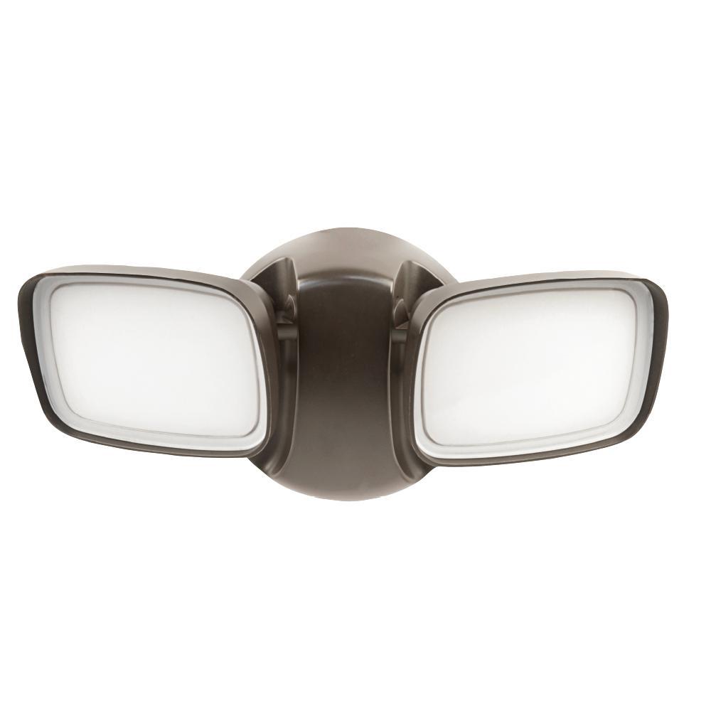 25-Watt Bronze Outdoor Integrated LED Dual Head Flood Light