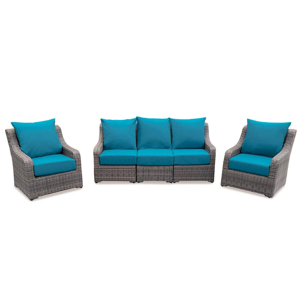 Cherry Hill 5-Piece Patio Deep Seating Set with Spectrum Peacock Cushions