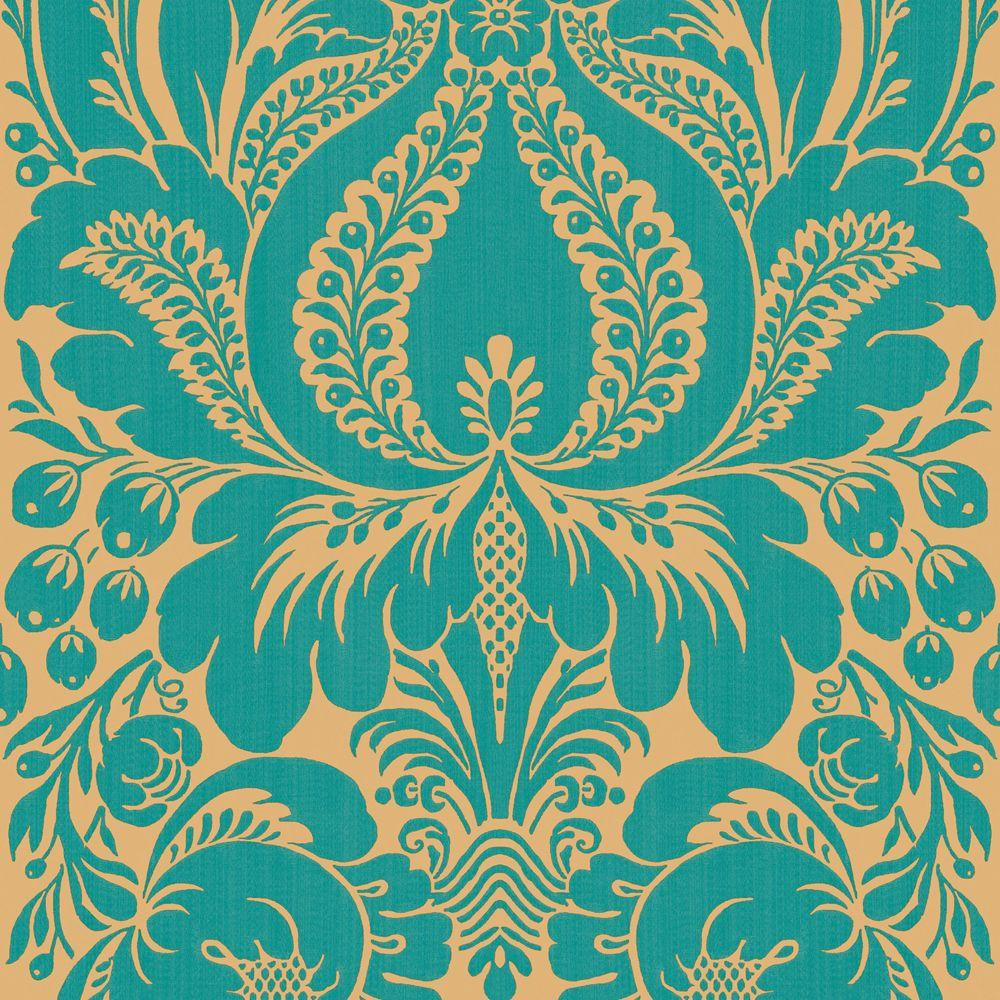The Wallpaper Company 56 sq. ft. Peacock Large Scale Damask Wallpaper