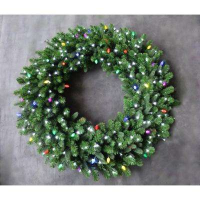 48 in. LED Pre-Lit Artificial Christmas Wreath with Micro-Style Pure White and C7 Multi-Color Lights