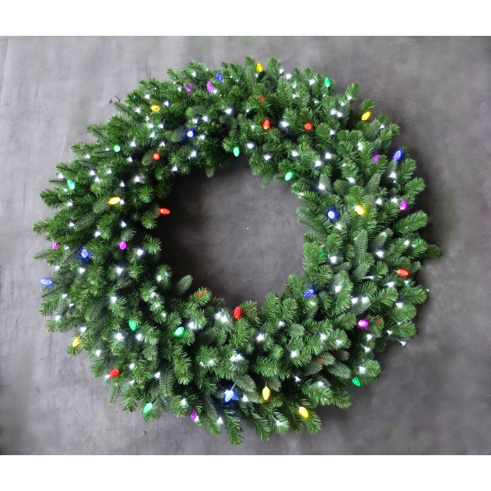 48 In Led Pre Lit Artificial Christmas Wreath With Micro Style Pure White And C7 Multi Color Lights