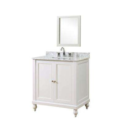 Classic 32 in. Vanity in Pearl White with Marble Vanity Top in White Carrara with White Basin and Mirror