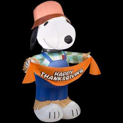 30.32 in. W x 22.05 in. D x 42.13 in. H Inflatable Snoopy as Scarecrow