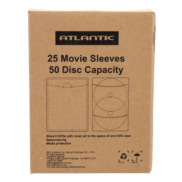 Clear Sleeve Hold Two Discs Each Protects Disc Atlantic 25 Pack Movie Sleeves