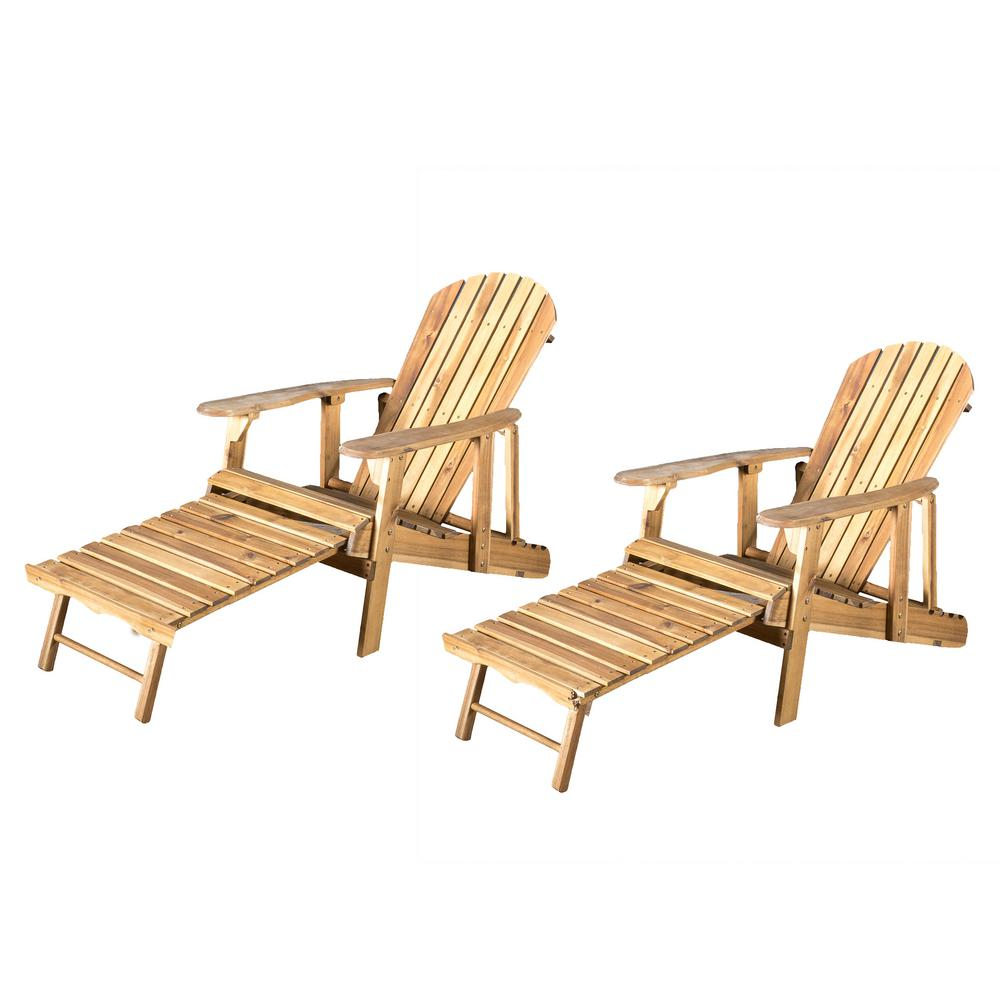 Noble House Oakley Natural Stained Reclining Wood Adirondack Chair with Footrest (2- Pack)