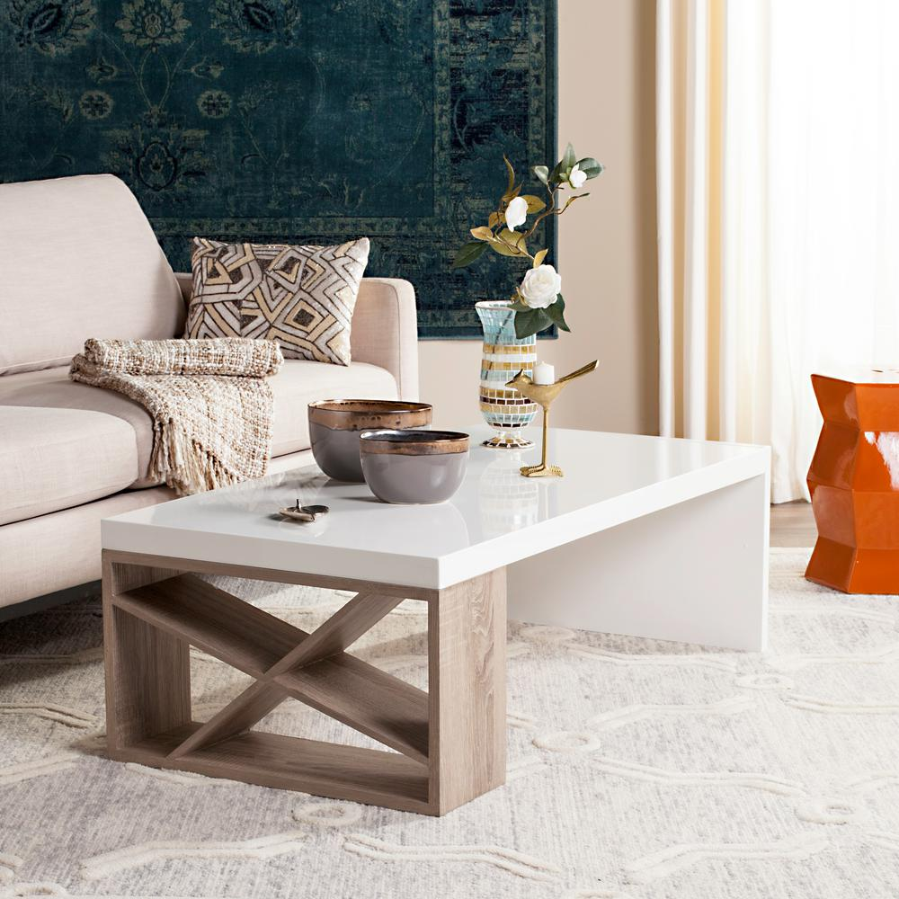 Safavieh Carlton Modern Scandinavian Side Storage Lacquer White Coffee Table & Safavieh Carlton Modern Scandinavian Side Storage Lacquer White ...