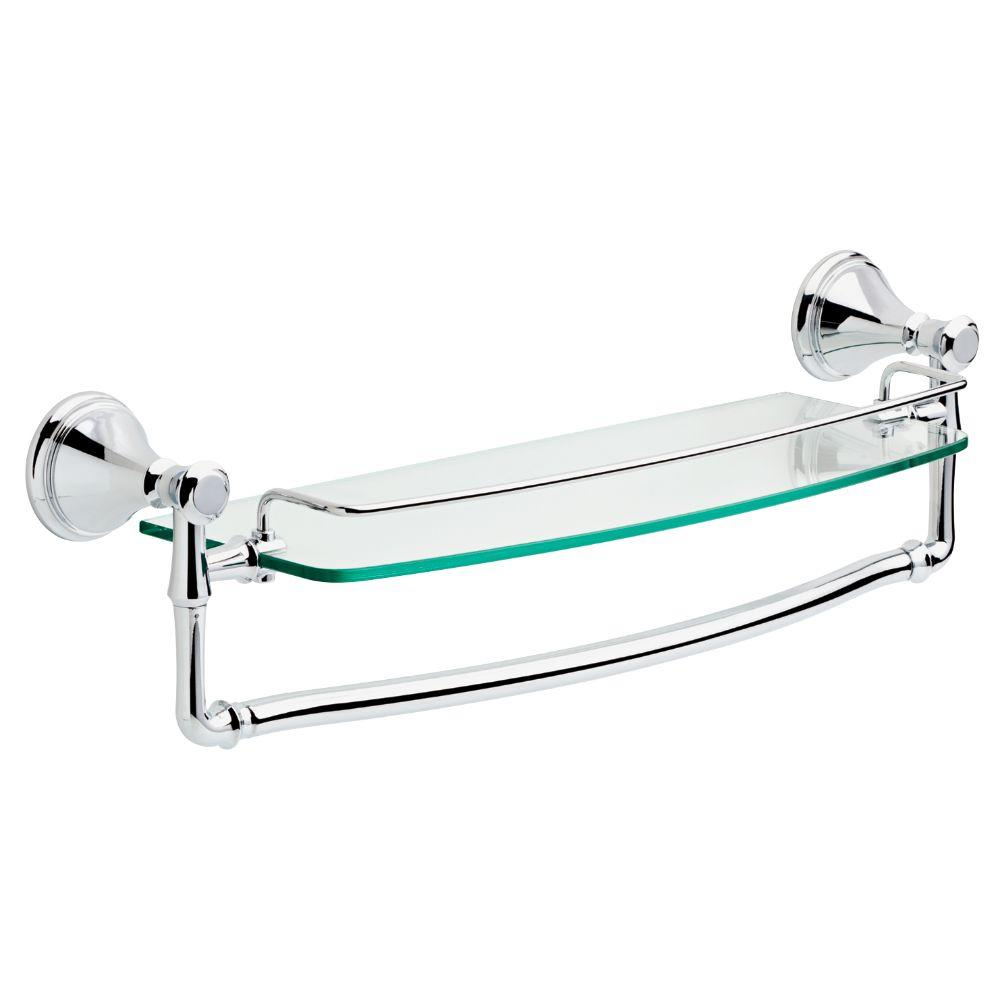 delta cassidy 18 in glass bathroom shelf with towel bar in chrome rh homedepot com bathroom wall shelves chrome bathroom chrome shelf unit