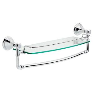 Delta Cassidy 18 inch Glass Bathroom Shelf with Towel Bar in Chrome by Delta