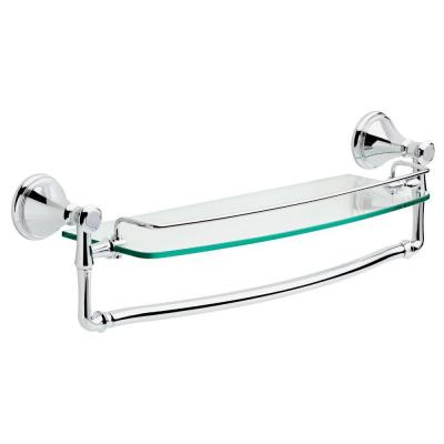 Cassidy 18 in. Glass Bathroom Shelf with Towel Bar in Chrome