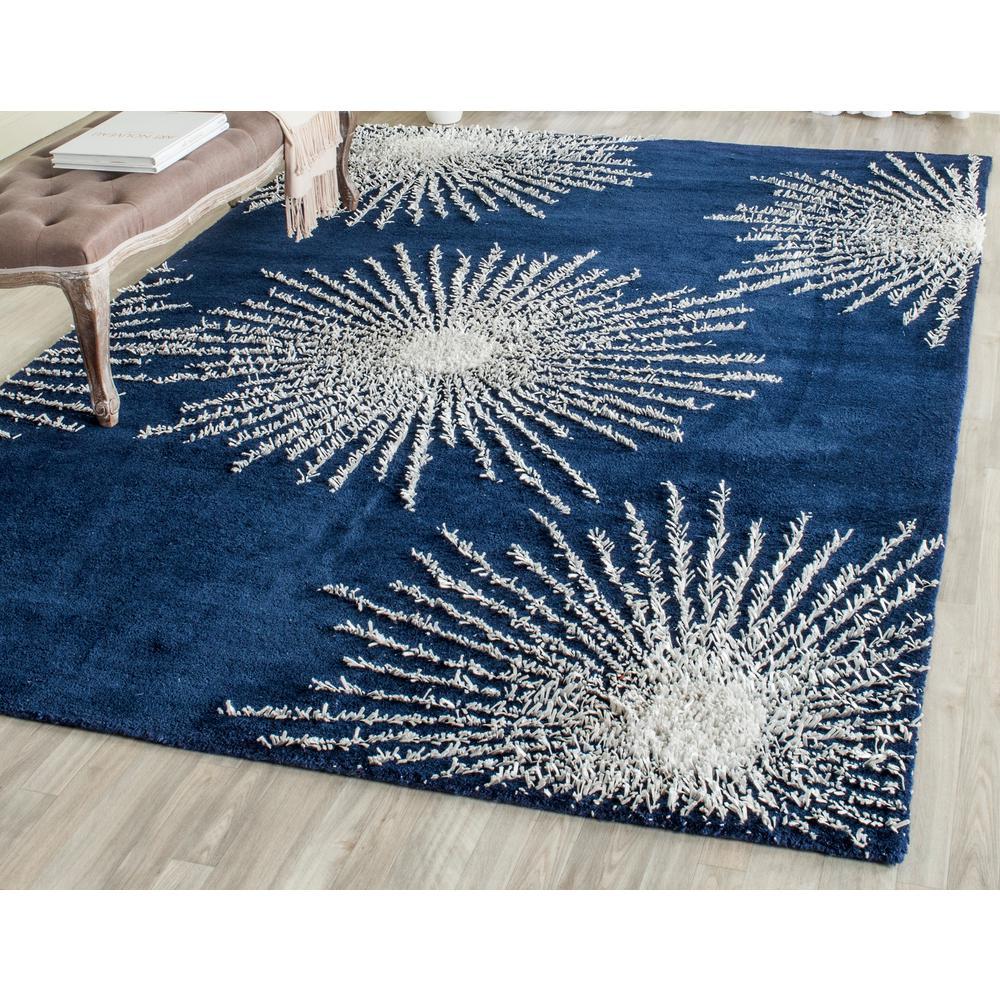 Soho Dark Blue/Ivory Wool 3 ft. 6 in. x 5 ft.
