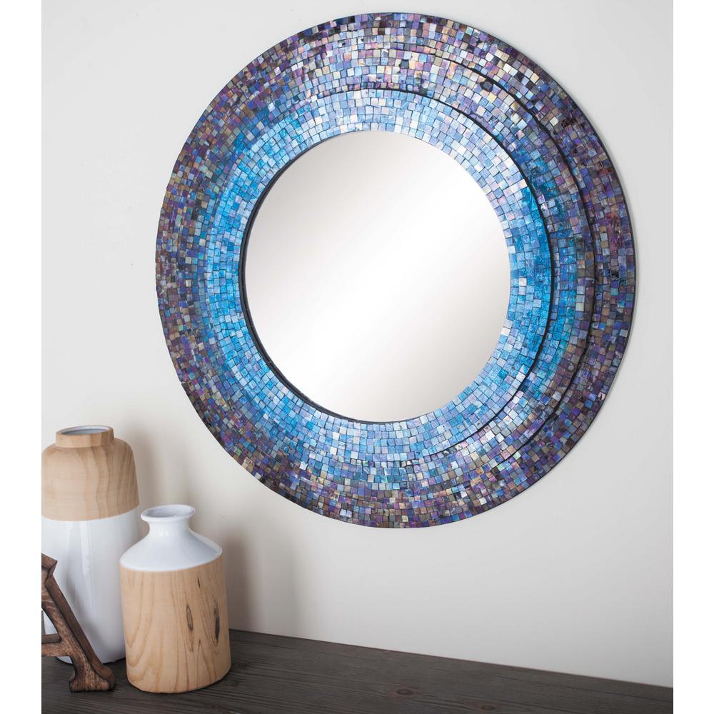 30 in. Dia Blue Mosaic Framed Mirror