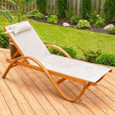 79 in. W x 22 in. D x 27 in. H Brown Reclining Sling Wooden Patio Chaise Lounge with Beige Cushion