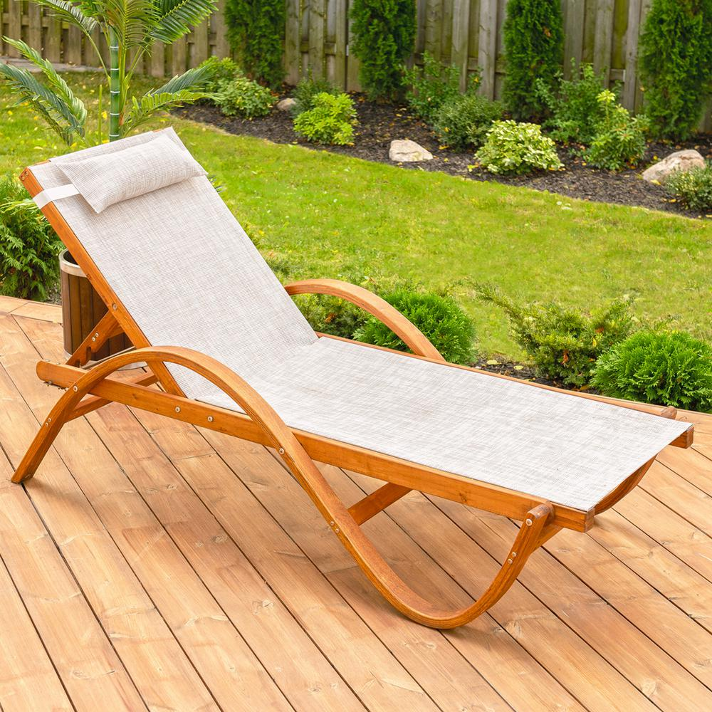 Strange Leisure Season 79 In W X 22 In D X 27 In H Brown Reclining Sling Wooden Patio Chaise Lounge With Beige Cushion Evergreenethics Interior Chair Design Evergreenethicsorg
