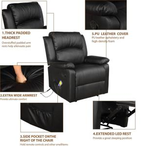 Stupendous Merax Black Power Massage Reclining Chair With Heat And Pdpeps Interior Chair Design Pdpepsorg