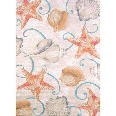 Regional Concepts Stars and Shells Natural 5 ft. 3 in. x 7 ft. 2 in. Area Rug