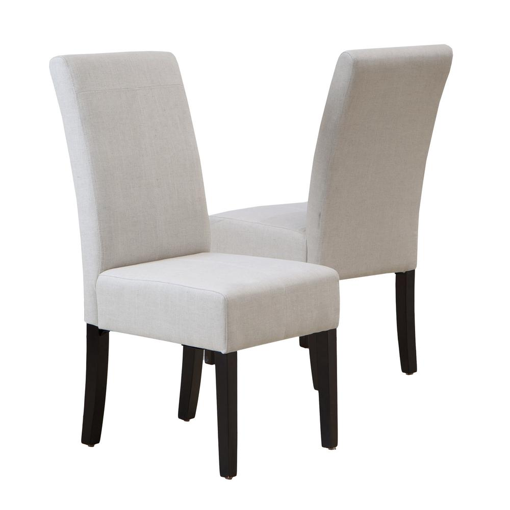 NobleHouse Noble House Pertica Natural Plain Fabric T-Stitch Dining Chairs (Set of 2)