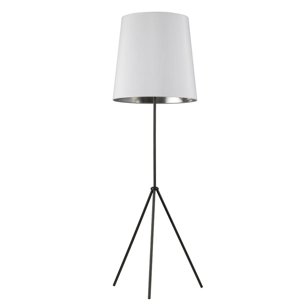 66 in. Matte Black Floor Lamp with White on Silver Shade