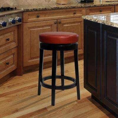 MBS-450 26 in. Red Bonded Leather and Black Wood Finish Backless Swivel Barstool