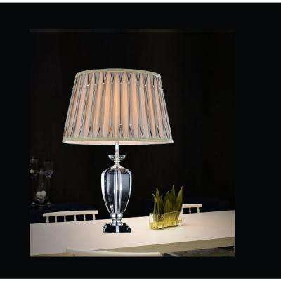 Yale 25 in. Chrome Table Lamp with Beige Shade