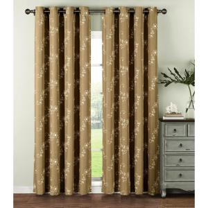 Window Elements Semi-Opaque Ashley Embroidered Faux Linen Extra Wide 84 inch L Grommet Curtain Panel Pair, Natural (Set... by Window Elements