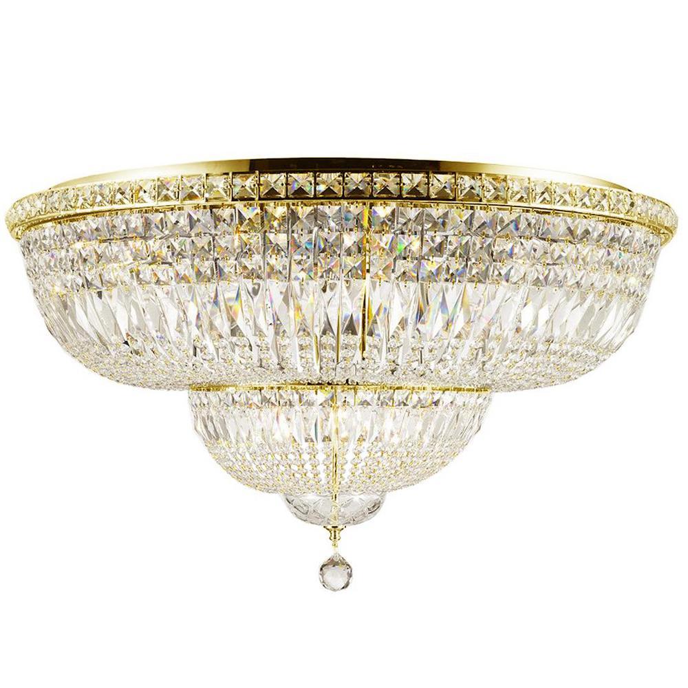Empire 36 in. 16-Light Gold Crystal Flush Mount