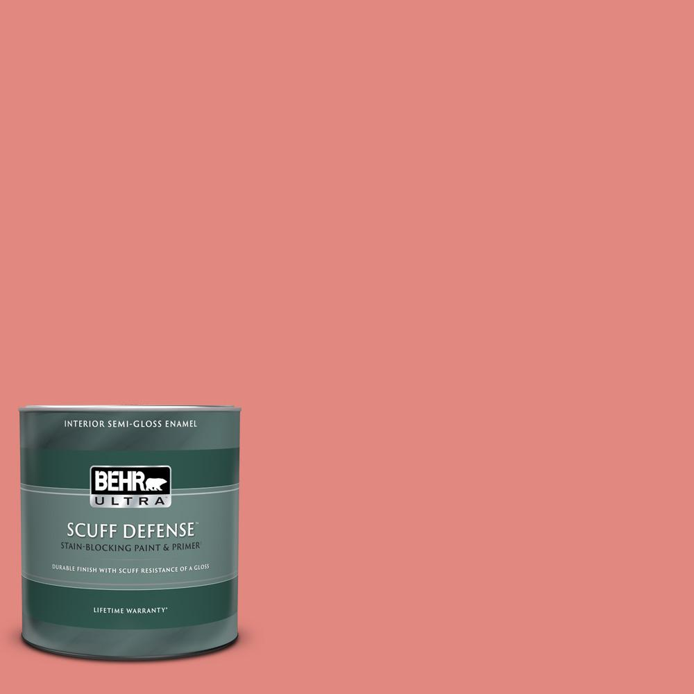 Behr Ultra 1 Qt Ppu1 04a Watermelon Punch Extra Durable Semi Gloss Enamel Interior Paint And Primer In One 375304 The Home Depot