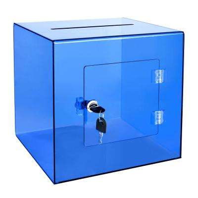 10 in. x 10 in. x 10 in. Acrylic Suggestion Donation Box with Easy Open Rear Door, Crystal Blue