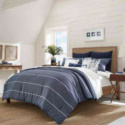 Candler Navy 3-Piece Full/Queen Duvet Cover Set