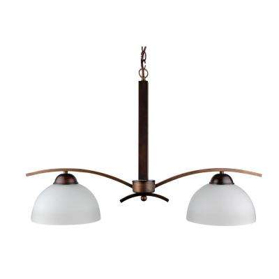 2-Light Coffee Chandelier with Etched Acid Wash Glass Shade