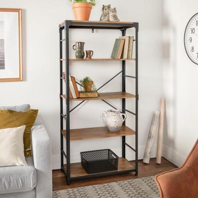 64 in. Barnwood/Black Metal 4-shelf Etagere Bookcase with Open Back