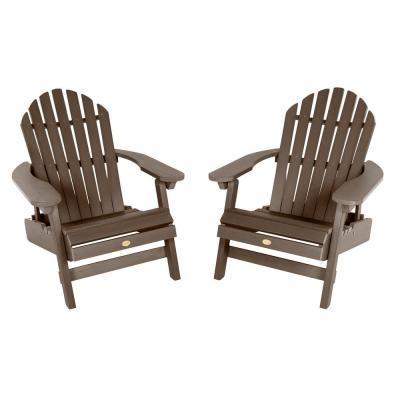 Hamilton Weathered Acorn Folding and Reclining Plastic Adirondack Chair (2-Pack)