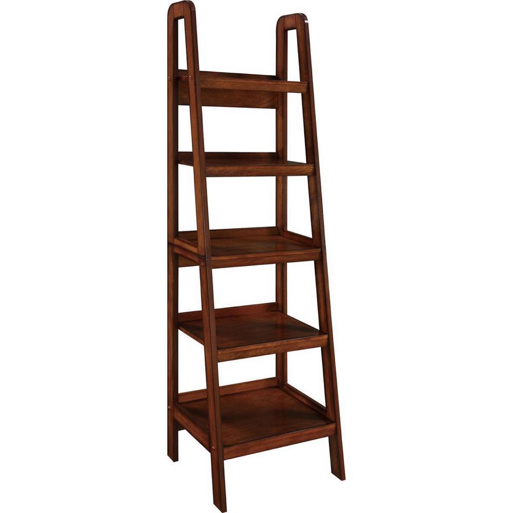 Meadowlark Espresso Wood Veneer Ladder Bookcase