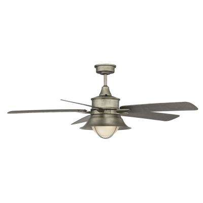 52 in. English Bronze Ceiling Fan with Light with Cream Indian Scavo Glass