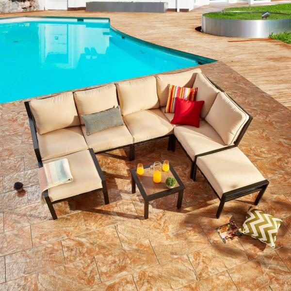 Patio Festival X Back 8 Piece Metal Patio Conversation Seating Set With Beige Cushions Pf20150x2 210 724 726 727x3 The Home Depot