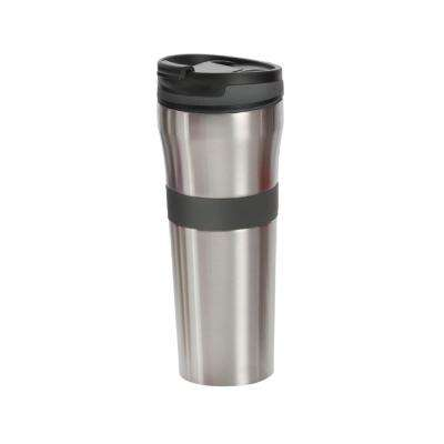 20 oz. Grey Double Wall Stainless Steel Coffee Tumbler with Silicone Grip