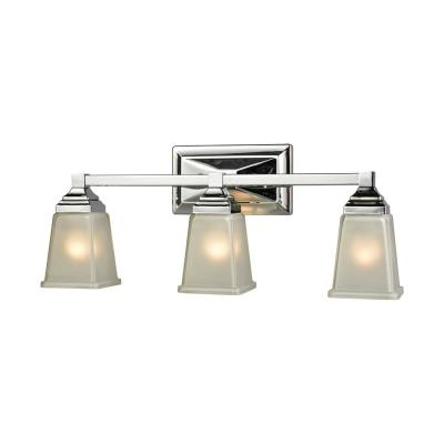 Sinclair 3-Light Polished Chrome With Frosted Glass Bath Light