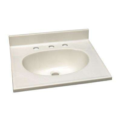 61 in. W Cultured Marble Vanity Top in White on White and 8 in. Faucet Spread