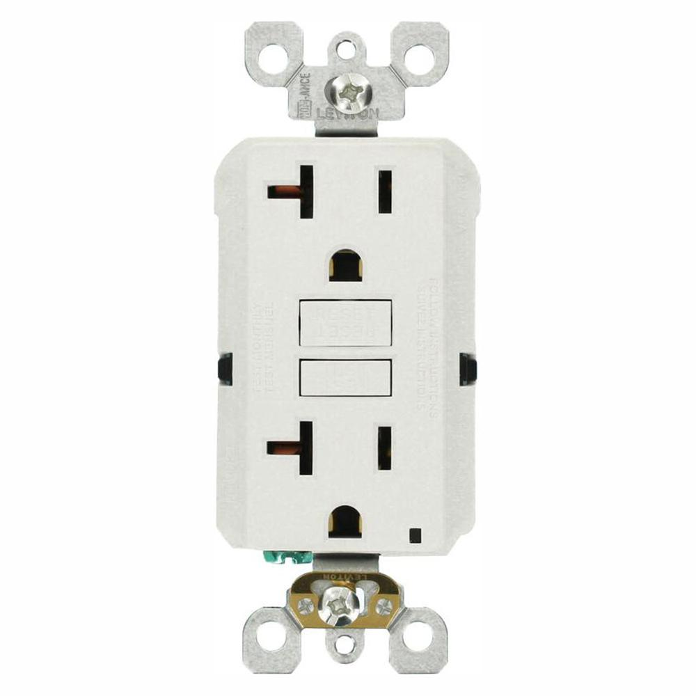 Leviton 20 Amp Self-Test SmartlockPro Slim Duplex GFCI Outlet, White  (3-Pack)
