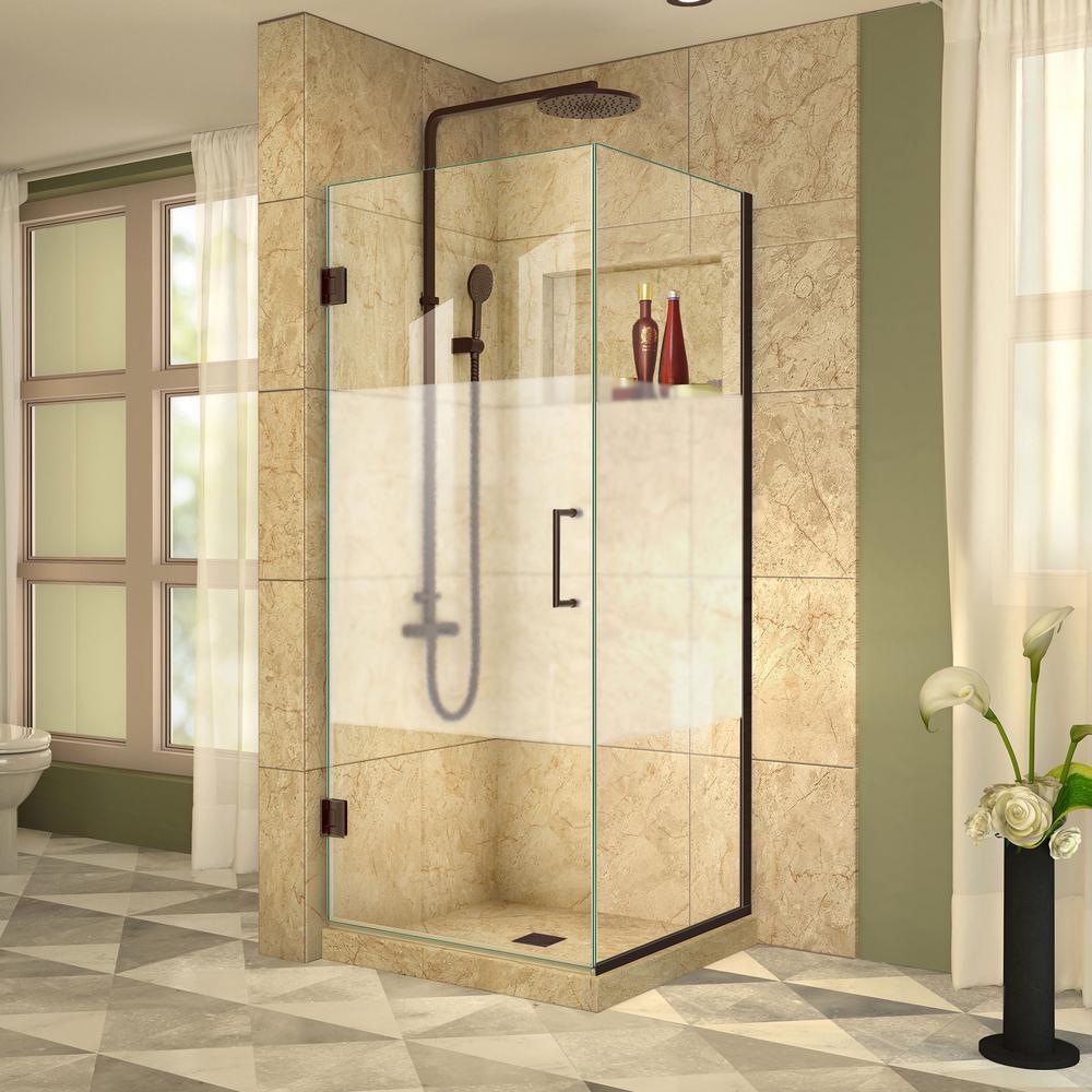 Unidoor Plus 30-3/8in.x34in.x72 in. Frameless Hinged Corner Shower Enclosure in